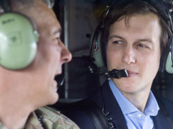 Jared Kushner, Senior Advisor to President Donald J. Trump, speaks Lt. Gen. Stephen J. Townsend, commander, Combined Joint Task Force – Operation Inherent Resolve, during a helo ride aboard a CH-47 over Baghdad, Iraq, April 3, 2017. (DoD Photo by Navy Petty Officer 2nd Class Dominique A. Pineiro)